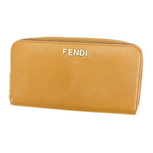 Fendi Wallet Purse Long Wallet Logo Brown Gold Woman Authentic Used C1925