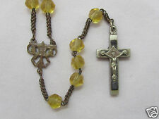 † c1800s ANTIQUE DOUBLE SIDED LOURDES CRUCIFIX HAND CUT YELLOW GLASS ROSARY †