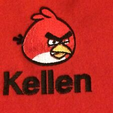 Personalized Embroidery Baby Fleece Blanket With Angry Bird