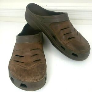 Crocs Bogota Slip On Clogs Size 11 Brown Leather Shoes