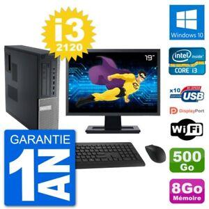 "PC Dell 790 DT Ecran 19"" Intel i3-2120 RAM 8Go Disque Dur 500Go Windows 10 Wifi"