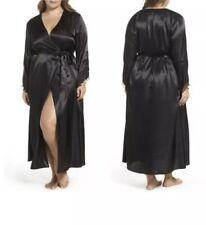 Flora Nikrooz Plus-Size Stella Satin Long Robe Lace Sleeve Black 1X I4 NWT New