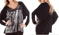KAREN KANE SEQUINS CHEETAH DOLMAN RAGLAN SLEEVE BLACK V-NECK TOP 3X