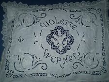VINTAGE HANDMADE PILLOWCASE CUTTING EMBROIDERY LACE