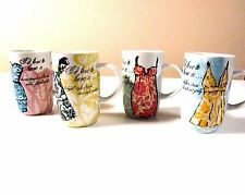 SET OF 4 ROSANNA DESIGNER MUGS FASHION DRESSES AND SHOES