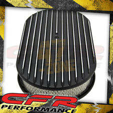 """Chevy Ford Mopar Al 15"""" Oval Air Cleaner Paper Filter Polished Finned - Black"""