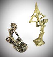 2 statuettes anciennes en bronze Burkina Fasso - cire perdue