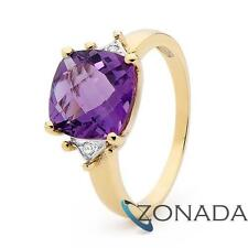 Dark Diamond Amethyst 9k 9ct Solid Yellow Gold Solitaire With Accents Rings