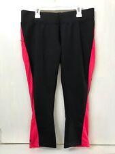 WoolX Womens Merino Wool Cropped Athletic Leggings Black Red Size L NWT RARE