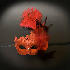 Ostrich Feather Venetian Masquerade Mask for Women M7634 [Red]
