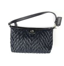 Coach NWOT Madison 70th Anniversary Quilted Chevron Nylon Black Demi