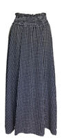 BOOHOO Sz 14-16 Full A Line Skirt Midi Shirred Waist Black & White Check Gingham
