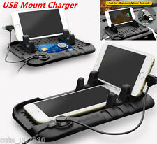 Car Holder Dashboard Stand USB Mount Magnetic Charger Cradle Non-Slip Pad Mat