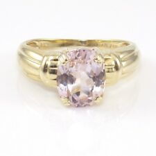 14K Yellow Gold Light Pink Amethyst Solitaire Ring Size 8