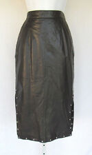 Vintage 1980s 90s Georgetown Leather Design Skirt Size 9/10 Black Rhinestones