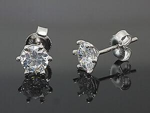 585 Weißgold Ohrstecker 6 mm Größe 6 Krappen mit Zirkonia Steinen 1 Paar