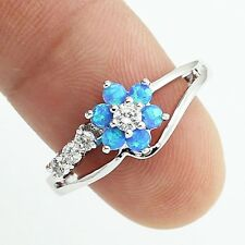 Delicate Silver Plated Blue Fire Opal & Simulated Diamond Flower Ring Size 7