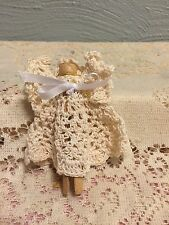 "Handmade 4"" Clothespin Angel, Cream Crochet New"