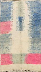 Contemporary Authentic Moroccan Vegetable Dye Handmade Plush Wool Area Rug 5'x8'