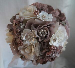 Brooch Bouquet Bridal Wedding Bouquet Shabby Chic Vintage Mink/Mocha/Cream