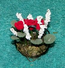 Dollhouse Miniatures, Wire Basket with Red Roses and other foilage, Flowers