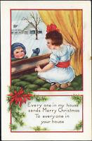 Whitney Christmas~ CHILDREN~BOY & GIRL THROUGH WINDOW~SNOW~Antique Postcard