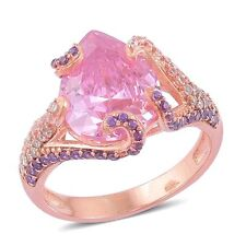 PINK PURPLE SIMULATED DIAMOND SWIRL PAVE 14K OVER STERLING SILVER RING 5