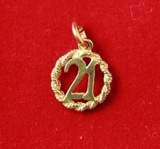 NEW 9ct Yellow Gold Solid 21st Birthday Pendant 375 Charm Free Shipping Option