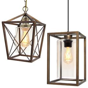 Vintage Brass Glass Shade Pendant Ceiling Chandelier Home Pub Diner Lanterns