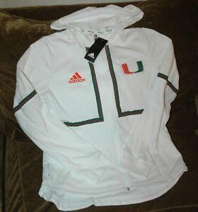 Miami Hurricanes hoodie jacket women's small NEW w tags Adidas PrimeBlue white