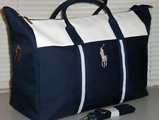 POLO RALPH LAUREN Big Pony Canvas Duffle Bag, Sports, Gym, Travel, Carry-On NAVY