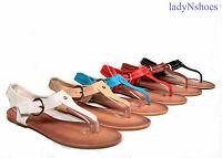 NEW 6 Color Women's Cute T-Strap Buckle Flat Slingback Sandal Shoes Size 6 - 11