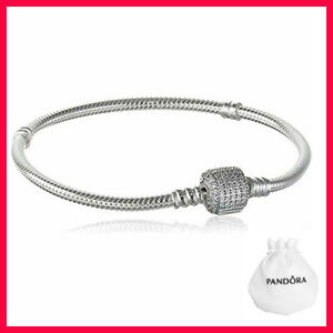 New Authentic Pandora Bracelet Silver CZ Barrel Clasp Snake Chain #590723CZ US
