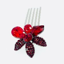 Small Flower Hair Comb Hairpin use Swarovski Crystal Bridal Wedding RED 4-19