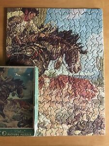 Tuco Deluxe Vtg Picture Jigsaw Puzzle Horse Cows Cowboy Snake Complete Ub