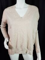 All Saints Sweater Size Small Pink Alda Panel Vneck Long Sleeve Cotton Blend