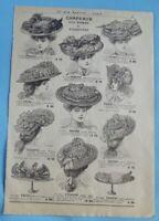 1905 Ancienne Publicité Gravure Modes Chapeaux dames Canotier Cloche Capote