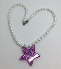 Purple Star Iridescent Holo Glitter Pendant G117 Kitsch On Glass Pearl White
