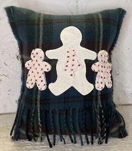 Handmade Gingerbread Men Pillow  Vintage Scarf  Christmas  Burgundy Cream Blue