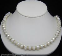 """MP"""" Natural 8-9mm AAA+ white pearl necklaces 925S 18"""""""