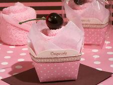 PINK cup cake asciugamano nozze omaggi x 6 PCS