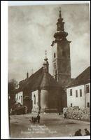 Zagreb Kroatien Postkarte~1920/30 Stari Zagreb Partie an der Kirche Alt Zagreb