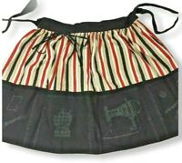 Vintage Apron Pockets Striped Unfinished With Embroidery Transfer Sewing Notions