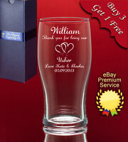 Personalised Engraved Pint Glass-Any Message/Image-Weddings Birthday Stag Usher