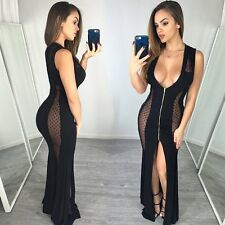 Women Summer Sleeveless Mesh Sheer Bodycon Evening Party Cocktail Long Dress