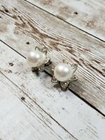 Vintage Clip On Earrings Faux Pearl and Silver Tone with Clear Stones Flower