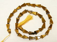 "TIGER EYE (yellow) GEMSTONE BEADS, 10 X 8 MM TRIANGLE, 35+ pcs  ""NEW"" AUZ SELLER"