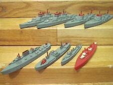 7 Vintage Metal Tootsie Toy War Ships Battleship+Cruiser+Destro yer Vg+Deal!