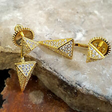 SILVER OR 14K GOLD PLATED SPIKE EARRINGS WITH CUBIC ZIRCONIA