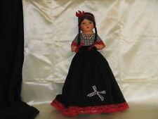 "Doll 18"" Vintage Mache & Straw stuffed Spanish Doll Painted face black braids"